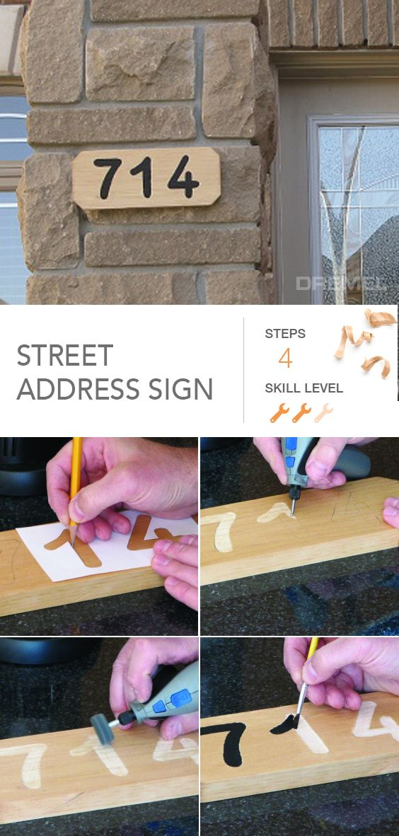 Own that address with this DIY street address sign. #Dremel has the details.