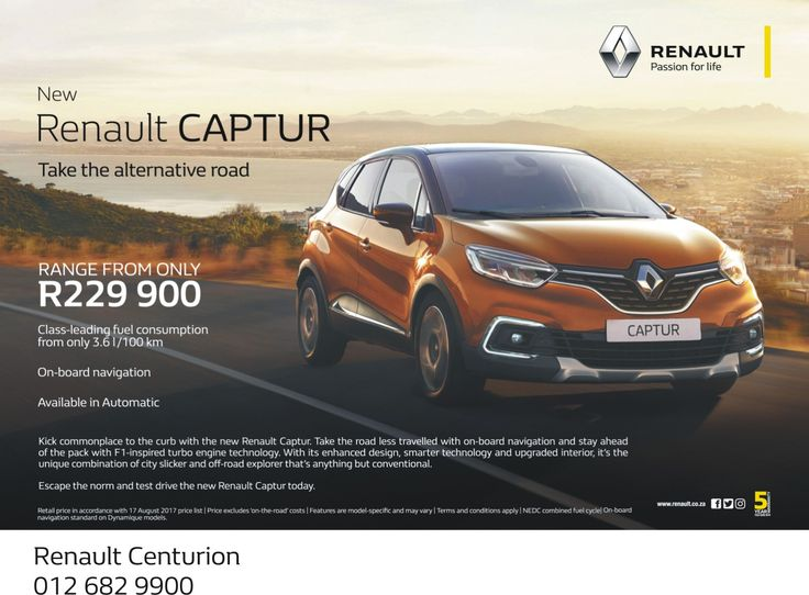 Get your #New #Renault #CAPTUR today from #Renault #Centurion. Range from only R229 900, don't miss out on this amazing deal !!! Contact us TODAY on 012 682 9900 for more information.  *Terms and Conditions Apply. #Autofind