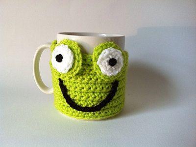 Crochet Frog Cup Cosy Lime Green Yarn by KnitADeeDooDah on Etsy, £7.50