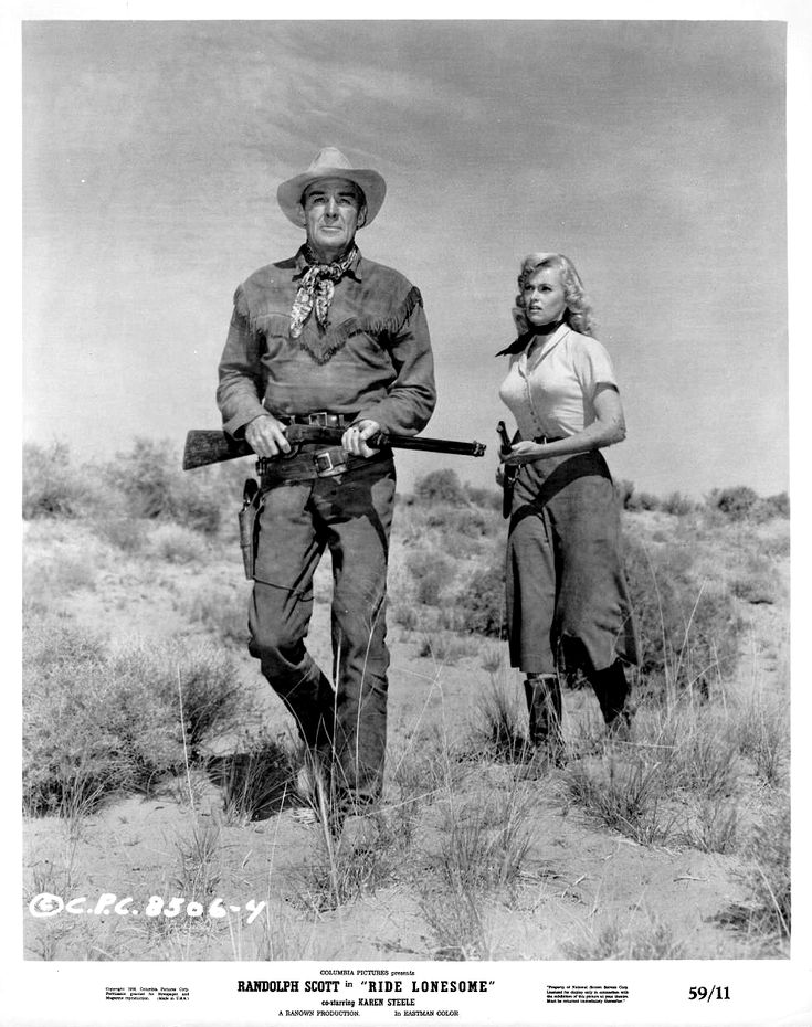 RIDE LONESOME (1959) - Randolph Scott & Karen Steele - Written by Burt Kennedy - Produced & Directed by Budd Boetticher - Columbia Pictures - Publicity Still.
