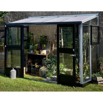 Serre Veranda adossée 4.4m² aluminium laqué anthracite et verre trempé 3mm - Juliana, Serre de jardin en verre