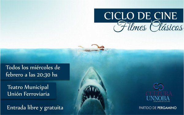 """Ciclo de #Cine """"Filmes clásicos"""" en el #Teatro Municipal. Este miércoles 20.30 hs. #TIBURÓN. No te la pierdas!"""