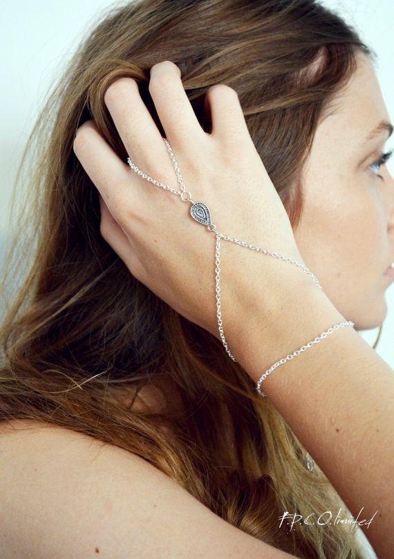 Slave Bracelet Hand Bracelet  Piece Hipster Silver Chain Bohemian Tibetan Drop Charm Hand Jewelry Piece BRSalome