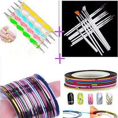 15pcs nail art tekening pen met 5pcs puntjes pen met 12st striping tape lijn spijker streep tape nagel sets - EUR € 7.83