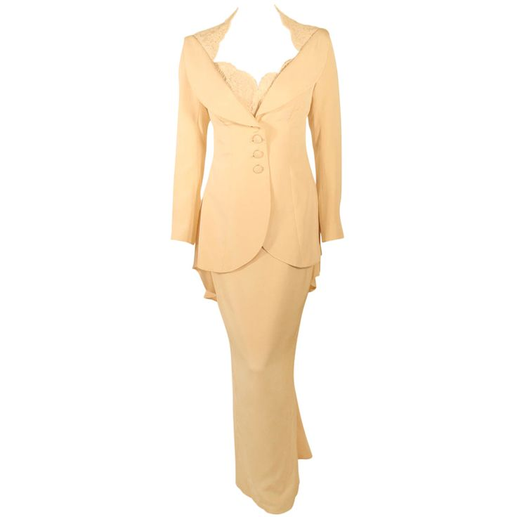 1stdibs | Antony Price 2 pc. Cream Gown & Fitted Jacket