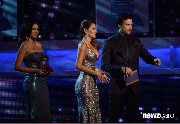 (L-R) Presenters  Ninel Conde and Jaime Camil speak onstage during the 13th annual Latin GRAMMY Awards held at the Mandalay Bay Events Center on November 15, 2012 in Las Vegas, Nevada.  (Photo by Kevork Djansezian/Getty Images for Latin Recording Academy)