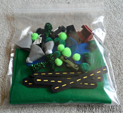 No sew portable road play set busy bag