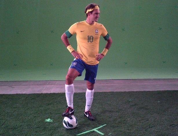 Roger Federer veste uniforme da seleção brasileira para promover exibição em São Paulo | Blog UOL Esporte