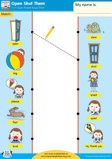 """Open Shut Them"" Match the Opposites Worksheet from Super Simple Learning. #Kindergarten #earlyelementary #ESL"