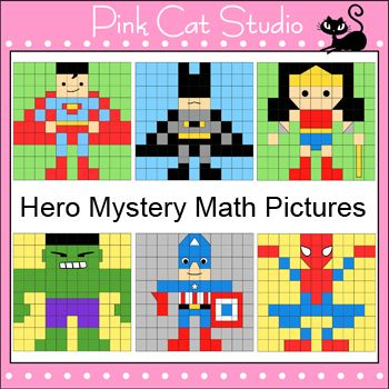 Your students will have a blast practicing their math skills by uncovering these fun hero characters mystery pictures. These activities are great for math centers, homework, whole class and early finishers.