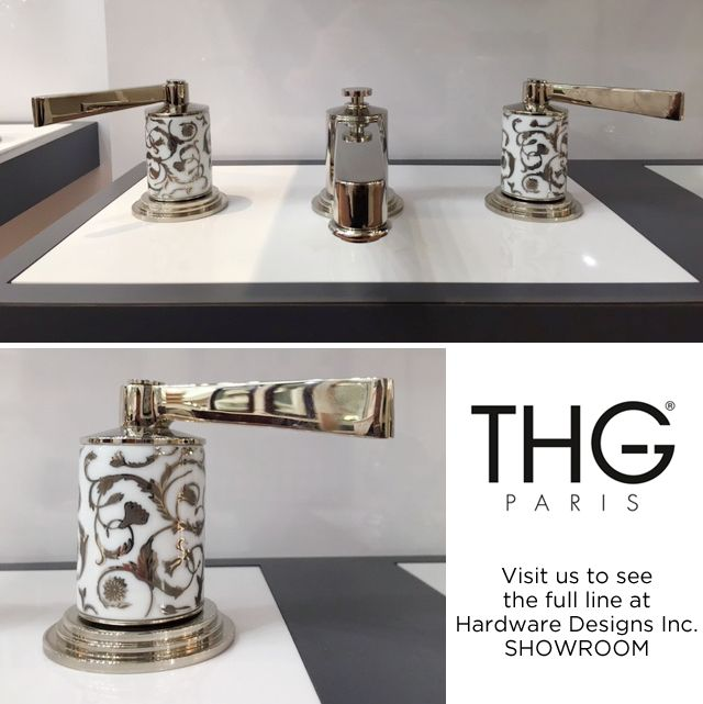 Frivole gilt decorated porcelain faucet set with silver finish levers from THG Paris.  at Hardware Designs Inc.