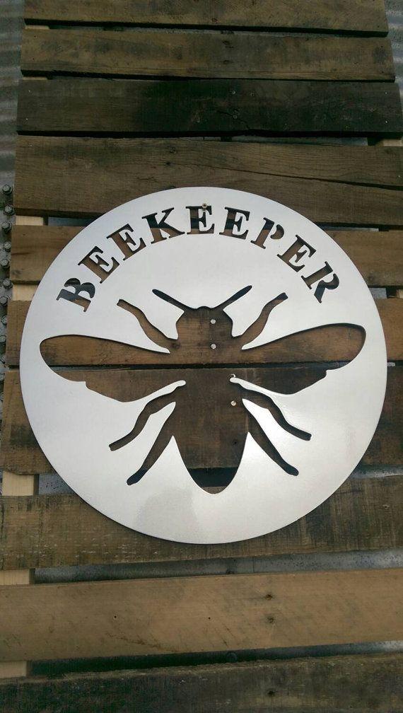 Beekeeper sign metal honeybee sign by MetalworksInd on Etsy