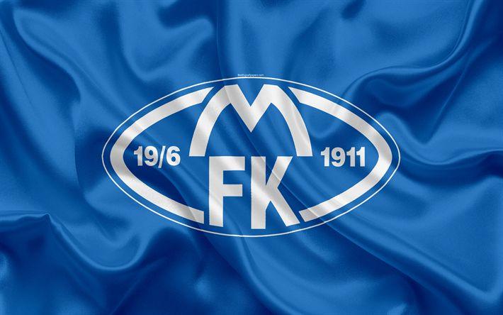 Download wallpapers Molde FK, 4k, Norwegian football club, emblem, Molde logo, Eliteserien, Norwegian Football Championships, football, Molde, Norway, silk flag