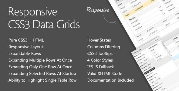 Responsive CSS3 Data Grids are used to present typical tabular data. Their advantages over the standard table are expandable rows in a form of drop down accordion sections, ability to highlight individual rows, hover states, table cell and headings tooltips. In addition the table is fully responsive and adapts well to the resolution of different mobile devices by grouping the data into rows. Additional drop down panel allows to show / hide selected columns for easier data comparison.