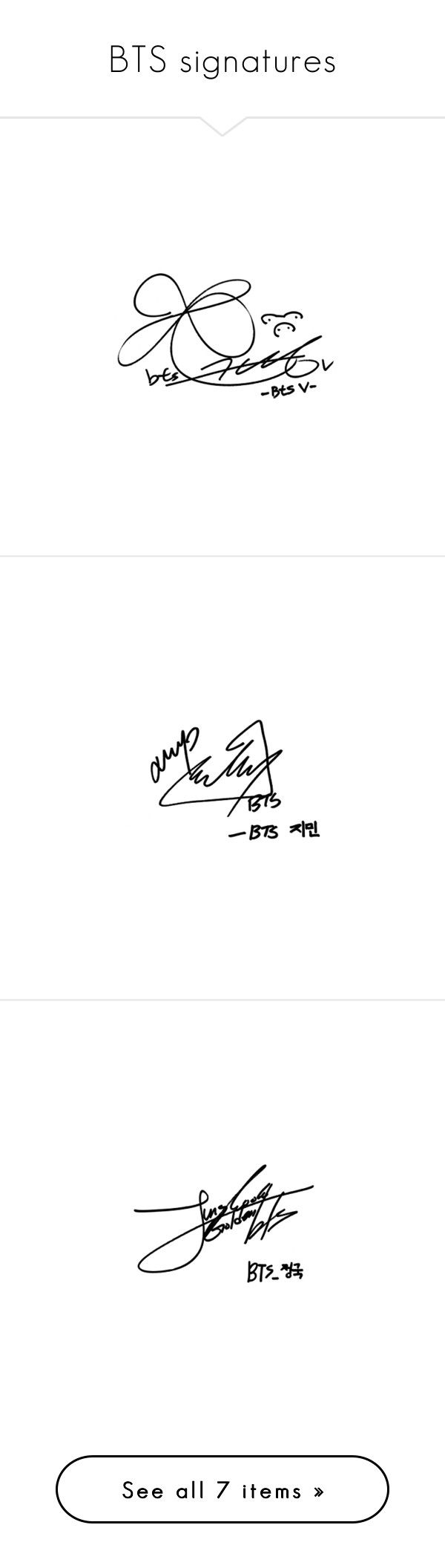 """""""BTS signatures"""" by sunshine-moonlight ❤ liked on Polyvore featuring bts, fillers - text, text fillers and kpop"""