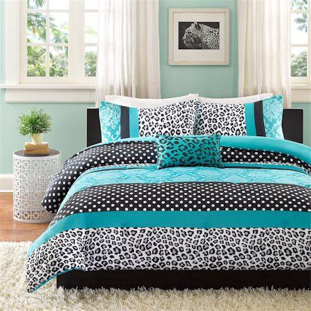 Teal Blue Black Cheetah Animal Print Teen Girl Bedding Twin Xl Full Queen Comforter Quilt Bedroom