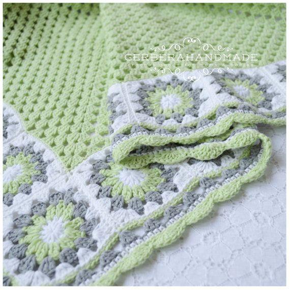 REZERVOVANÉ háčkovanie Deka dievča - Cottage štýl - šedá zelená biela farba pre bábätko bavlnu pripravené na odoslanie