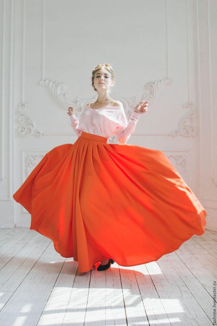 Оранжевая юбка-макси. - оранжевый, однотонный, оранжевая юбка, юбка макси, юбка в пол