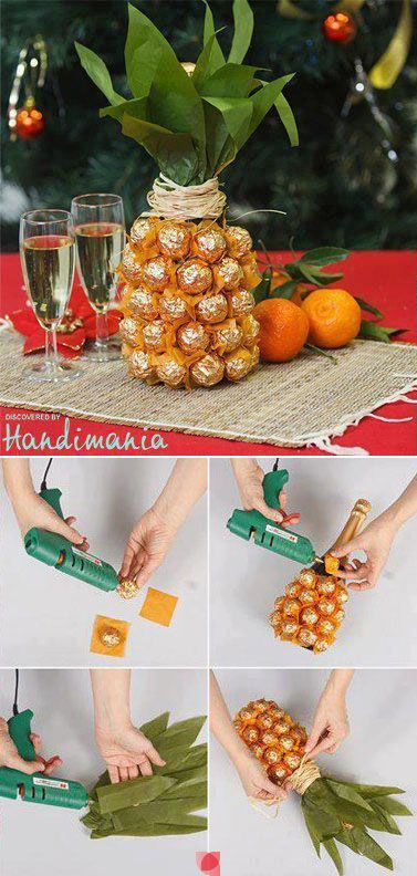 wrapped chocolate truffles arranged as a pineapple... cute!