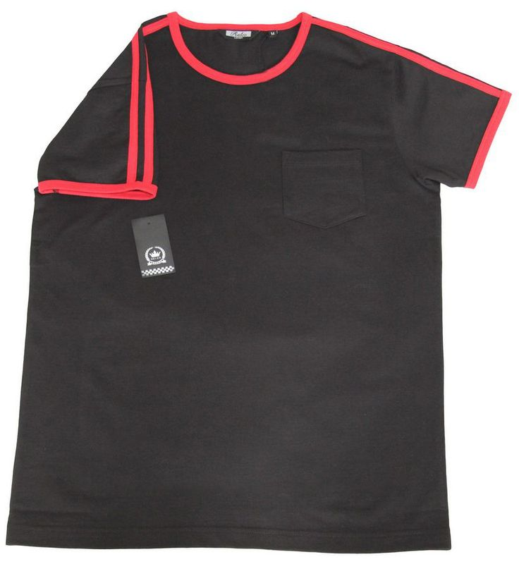 1970s Style Ringer T-Shirt Black Very High Quality Cotton Northern Soul