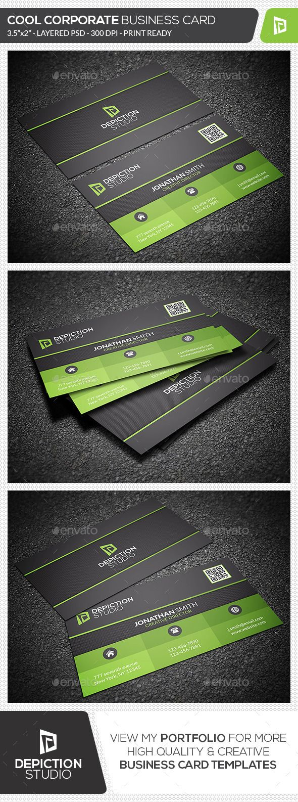 Cool Corporate Business Card - Corporate Business Card Template PSD. Download here: http://graphicriver.net/item/cool-corporate-business-card/11955700?s_rank=1790&ref=yinkira