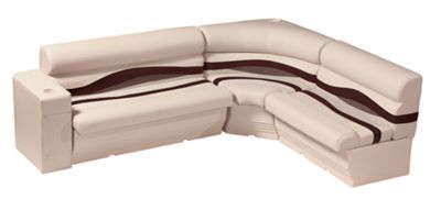 "Wise 1100 Series Premier Pontoon Furniture  Standard Rear ""L"" Group - Platinum/Wine/Manatee"
