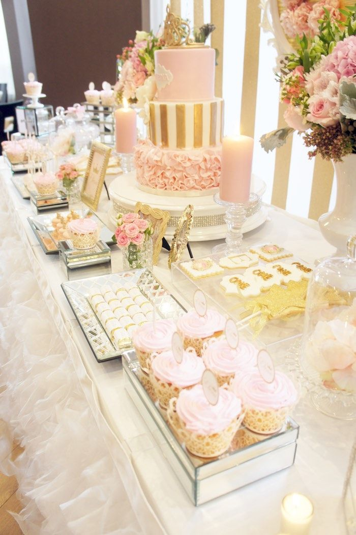 Sweet Table from a Pink & Gold Princess Party via Kara's Party Ideas | KarasPartyIdeas.com (28)