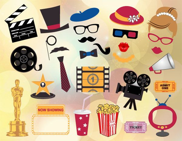 Instant Download Digital Movie Photo Booth Props by OneStopDigital