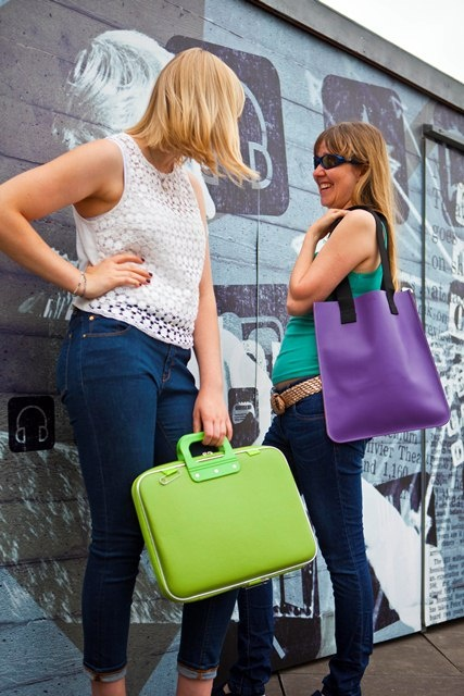 Camberwell bag in green and Southbank tote in purple