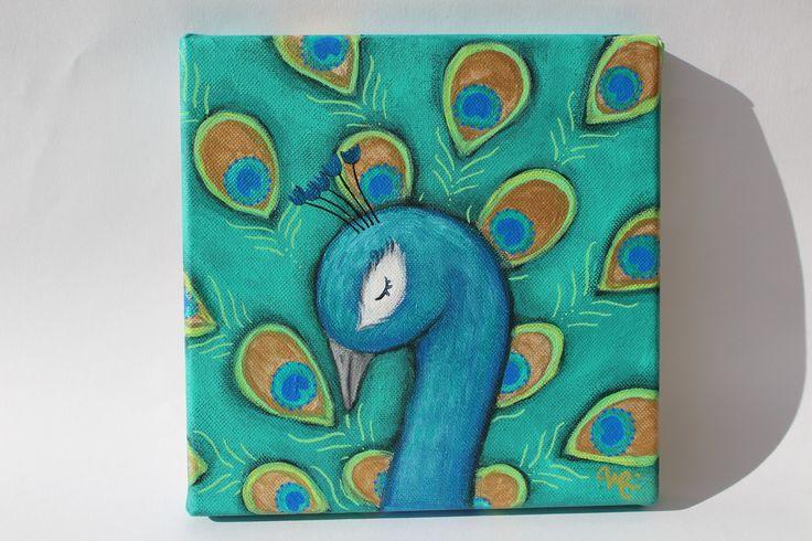 Paon bel oiseau, tableau pour chambre d'enfant ou grand rêveur, plumes d'un bleu vif irisé, vert, : Peintures par l-arbre-a-pois