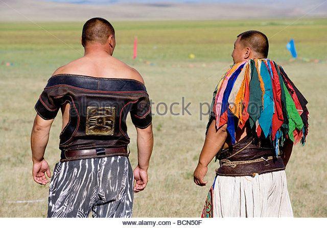 Mongolian wrestlers during Naadam Festival, Xilin Gol League, Inner Mongolia, China - Stock Image
