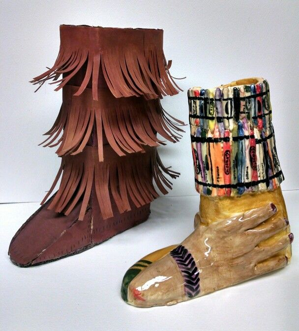 Cardboard Shoe And Creatively Transformed Clay Shoe My