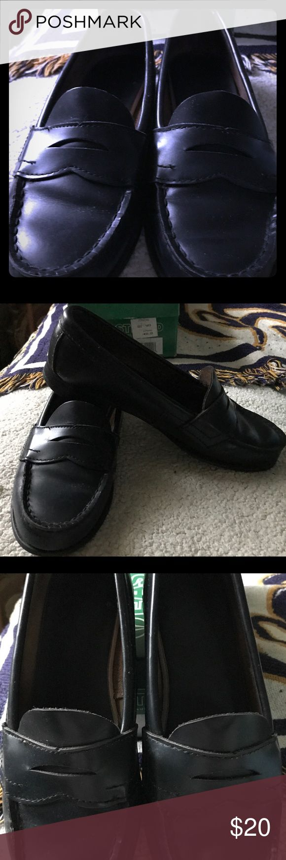Navy blue penny loafers Super cute!  Navy blue penny loafers.  Used, but in great shape as you can see.  Comes with original box. Eastland Shoes Flats & Loafers