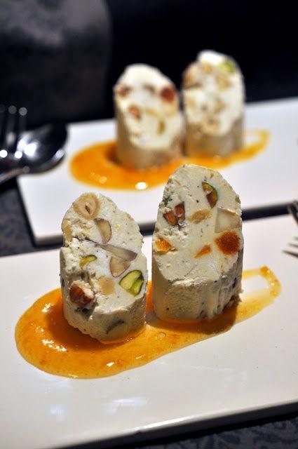 Käsegang für das Weihnachtsmenü : Ziegenfrischkäsenougat mit Quitten-Aprikosen-Gelee