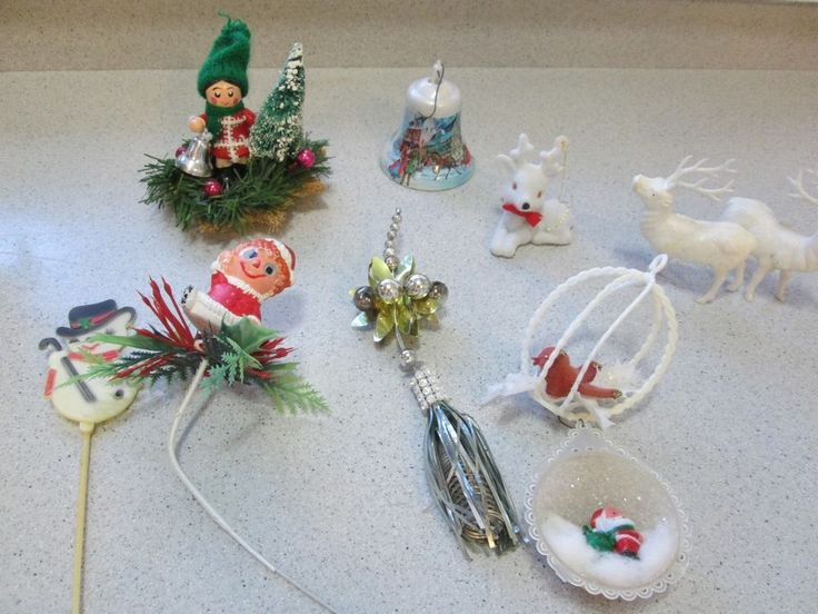 RETRO MID CENTURY CHRISTMAS DECORATIONS REINDEER BELLS FLOCKED VELVET ORNAMENTS  | eBay