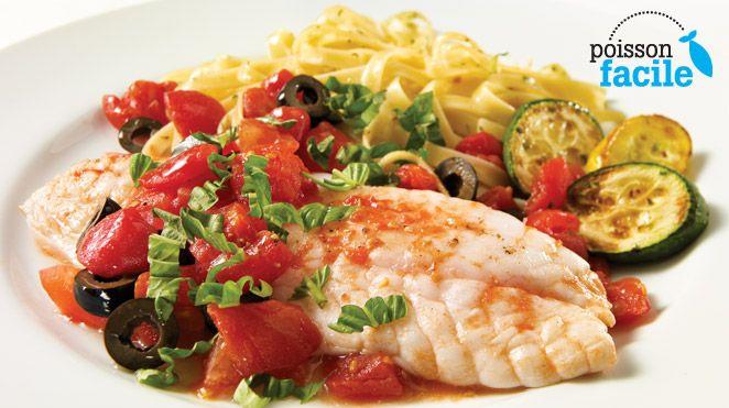 Filet de sébaste aux tomates et aux olives | Recettes IGA | Poisson, Basilic, Recette rapide