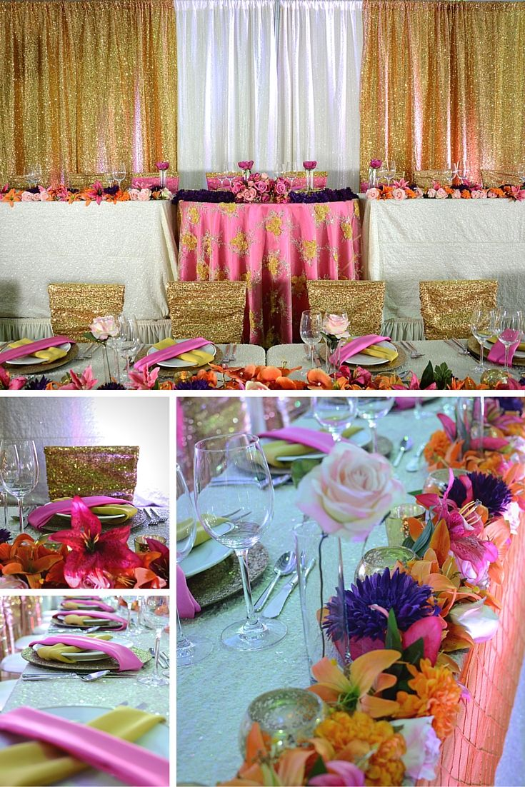 Tropical Inspired head table we used a combination of gold and ivory sequins with bold pinks purple and corals.