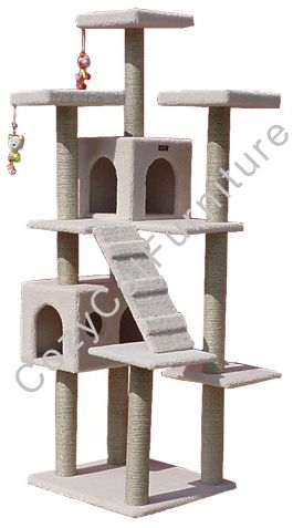 """77"""" Cat Gym Climbing with Cat Condos  - Overall size 77""""Hx36""""Lx31"""" W  - Board material Plywood  - Covering material Faux Fleece  - Base 26""""x24""""  - Max holding weight 80lbs  - 2 large cat condos, lower cat  condo is 20""""Lx14""""Wx13""""H with 28""""Wx8""""H entries, upper cat condo is 14""""Lx14""""Wx13""""H with 2 8""""Wx8""""H entries  - 3 large comfortable nests 14""""x14""""x2""""  - 10 sisal cat scratching posts. They measure 3.5"""" and are wrapped in 1/4"""" sisal rope."""