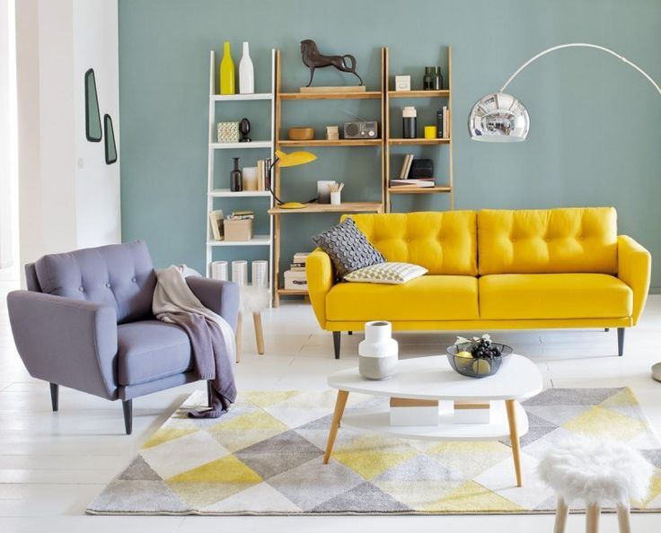 Best D E C O Y E L L O W Images On Pinterest Studio Design - Gray and yellow living rooms ideas
