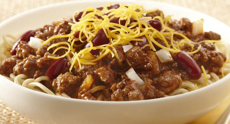 """CINCINNATI CHILI RECIPE: ~ From: """"McCormick Kitchens.Com"""". ~ Recipe Furnished By: """"McCORMICK KITCHENS"""" ~ Prep.Time: 15 min; Cook Time 40 min; Yield: (8 servings-adjustable). ***Here is an authentic chili recipe that gets its regional twist by adding cinnamon. It is typically served over spaghetti and topped with kidney beans, Cheddar cheese and onions."""