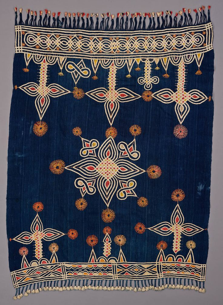 Woman's embroidered cotton shawl, Nigeria or Cameroon, ca. early 1930's.