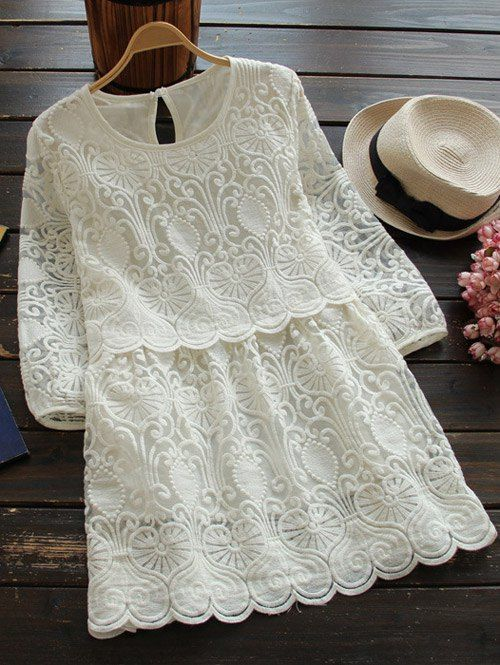 $23.99 Retro Embroidered Mini Dress - WHITE M