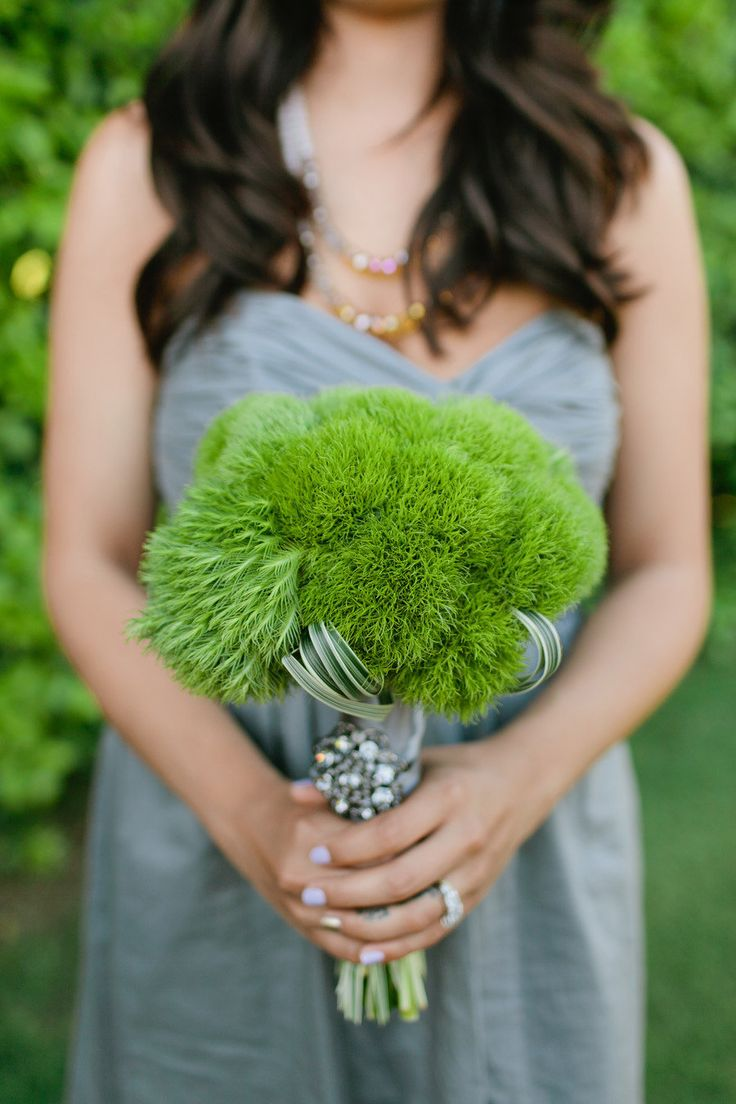 This bouquet is a great idea for a green spring wedding. It's made with Green Trick Dianthus. If you can't find it locally, you can get it from Flower Muse: http://www.flowermuse.com/types-of-flowers/other-flowers/green-trick-dianthus.html