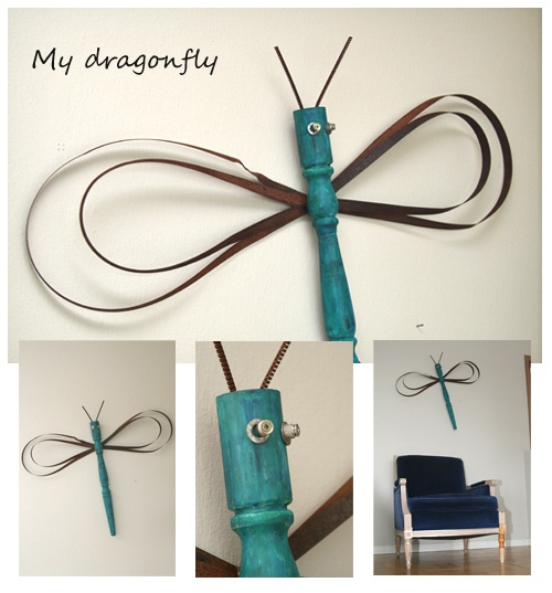 DIY dragonfly and butterfly from table legs + fan blades