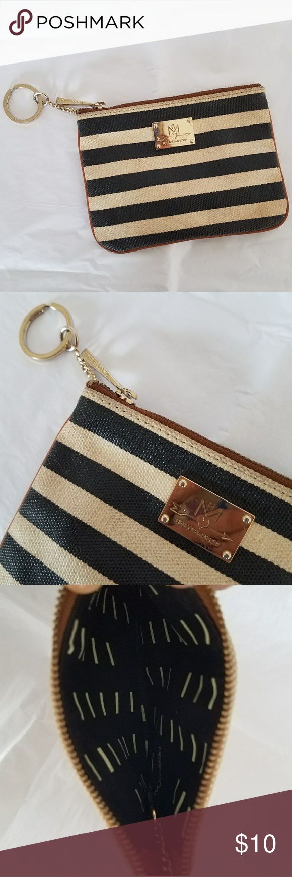 { 3/$10 SALE } Rebecca Minkoff || Keychain Wallet Preloved condition but a lot of life left. Gices it a vintage vibe! Cream, navy blue,  brown, gold.   Please view photos, description and measurements. I DO NOT TRADE. Rebecca Minkoff Bags Clutches & Wristlets
