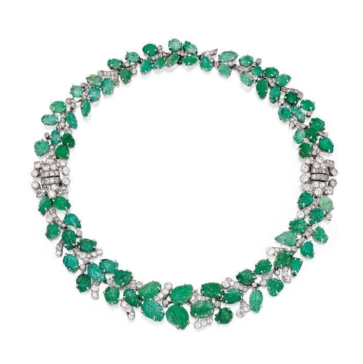 Platinum, Emerald and Diamond Necklace-Bracelet Combination, France, Circa 1930