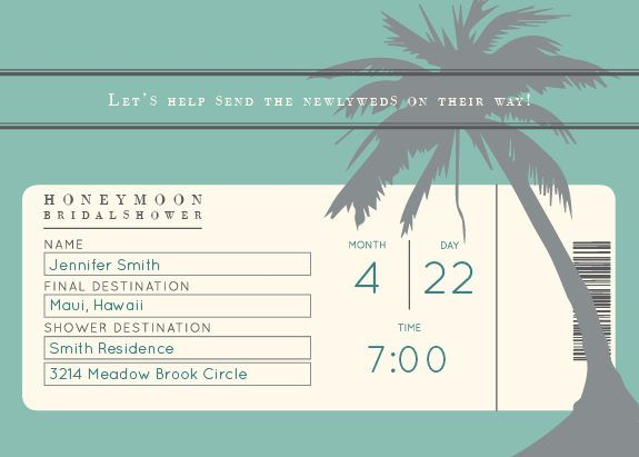 Honeymoon Ticket Bridal Shower Invitation