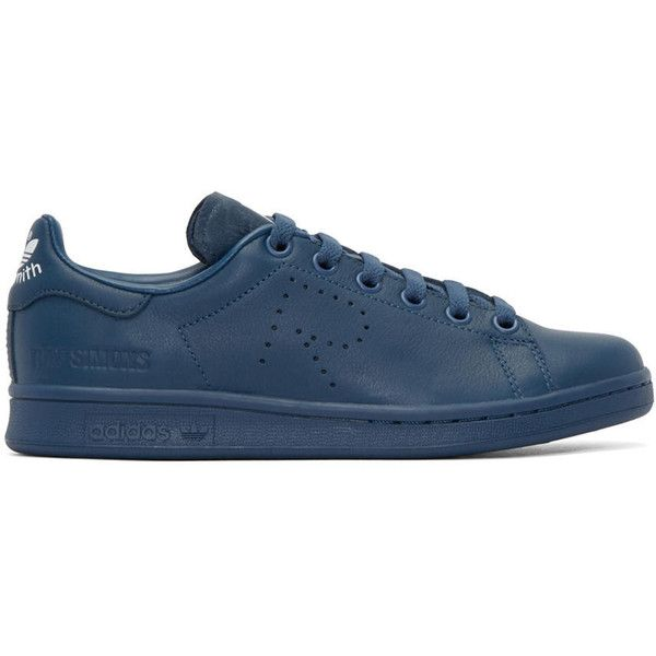 Raf Simons Navy Stan Smith adidas by RAF SIMONS Sneakers (1195 QAR) ❤ liked on Polyvore featuring shoes, sneakers, night marine, navy blue shoes, lace up shoes, navy leather shoes, navy blue sneakers and leather sneakers
