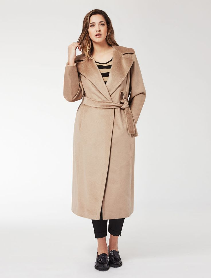 Marina Rinaldi TATTO camel: Long coat in sable drape.