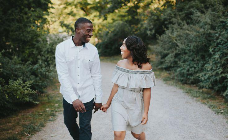 Josh and Kiara walking and smiling